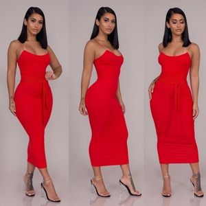 Dresses & Skirts - Belted Midi Dress-Red